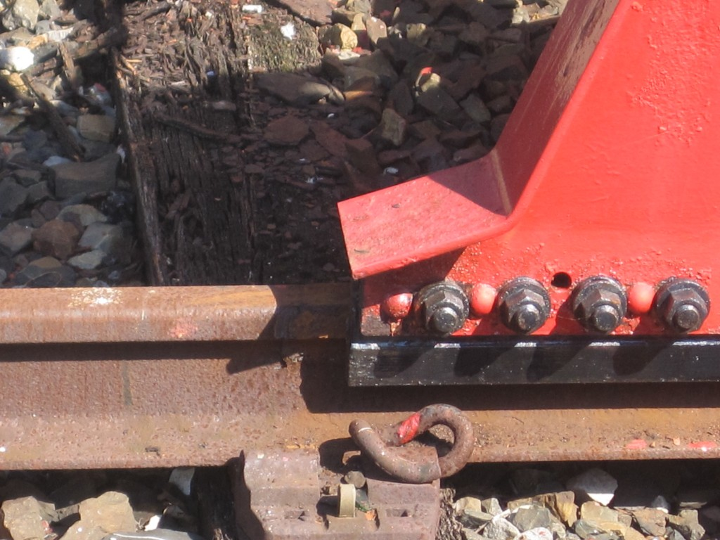 Photo of the buffers at Weymouth showing the scrape mark from impact. Image: John New.