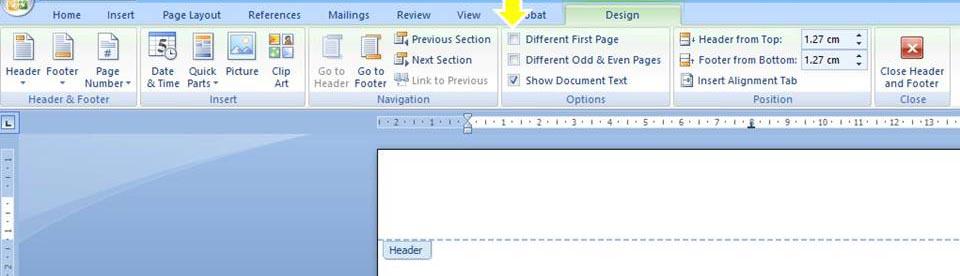 Screen grab - Word template editing options