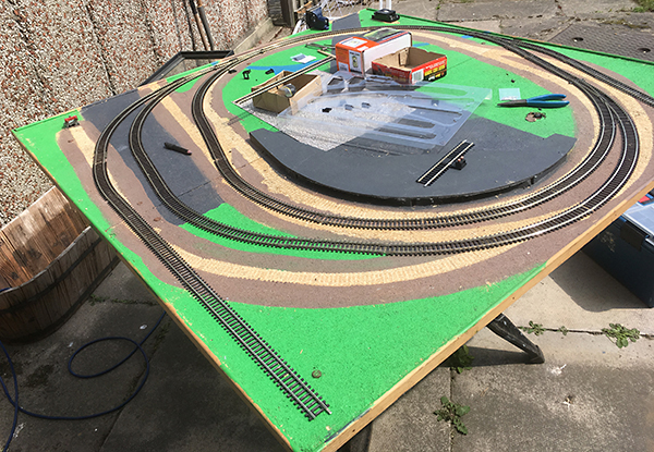 Railway modelling in action - the layout with track back down